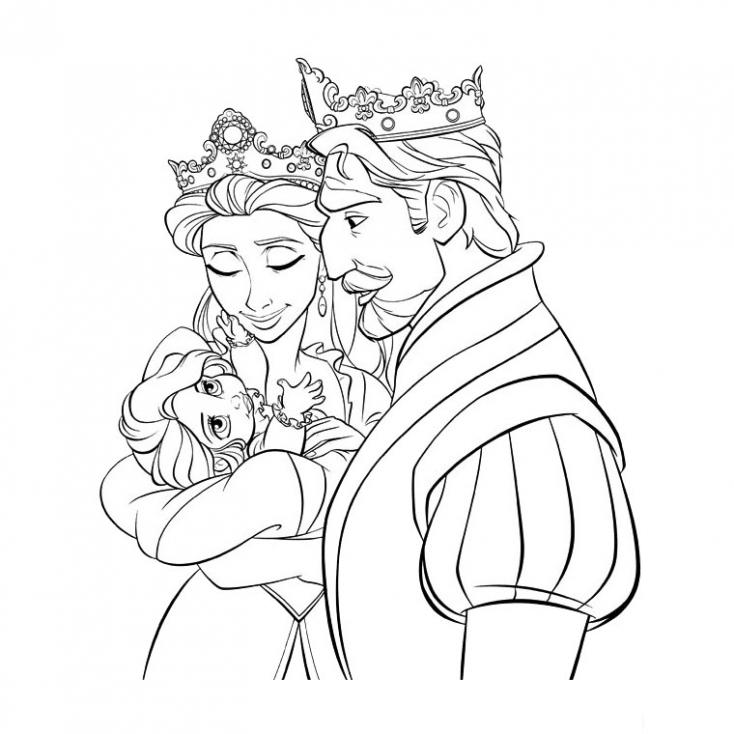Coloriage roi et la reine Frozen