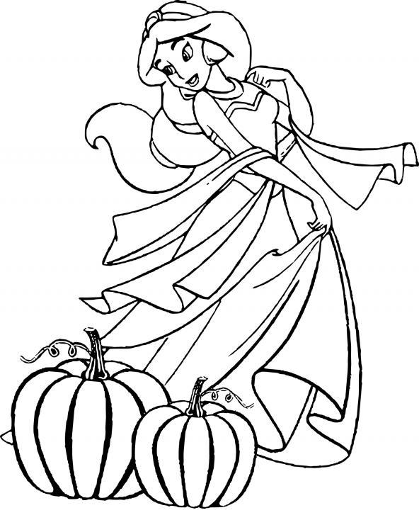 Coloriage Jasmine Halloween