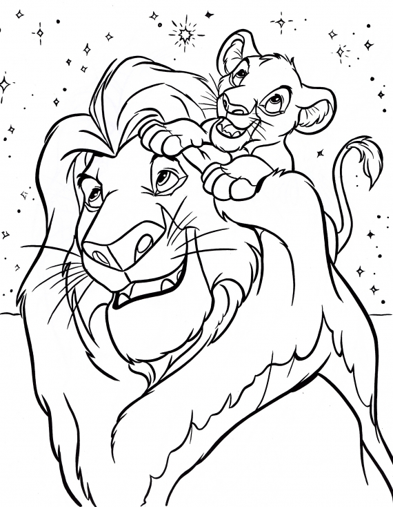 Coloriage Roi Lion et simba