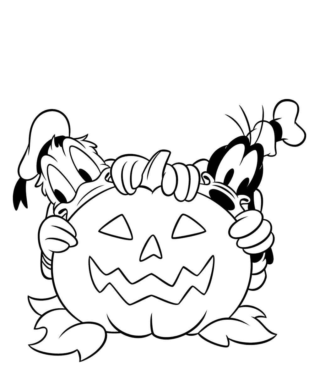 Coloriage Donald Et Pluto A Halloween A Imprimer