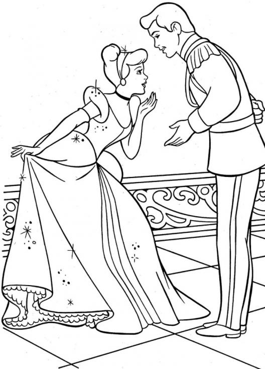 Coloriage Cendrillon et son prince
