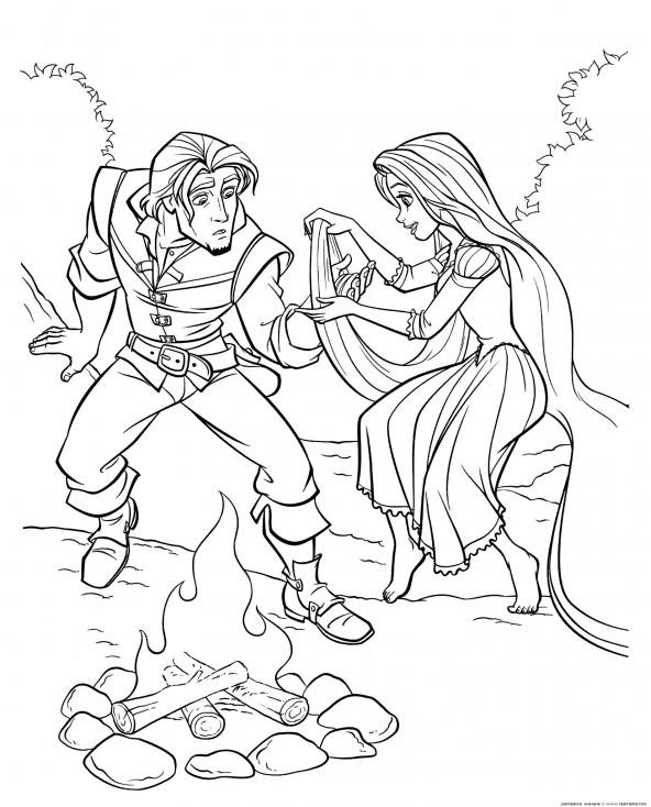 Coloriage Raiponce et son prince