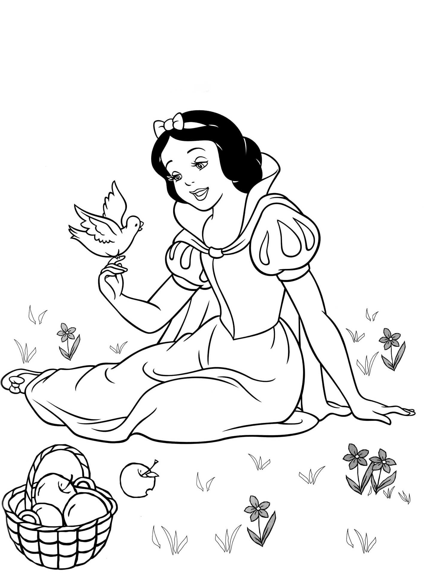Coloriage Blanche Neige Disney A Imprimer