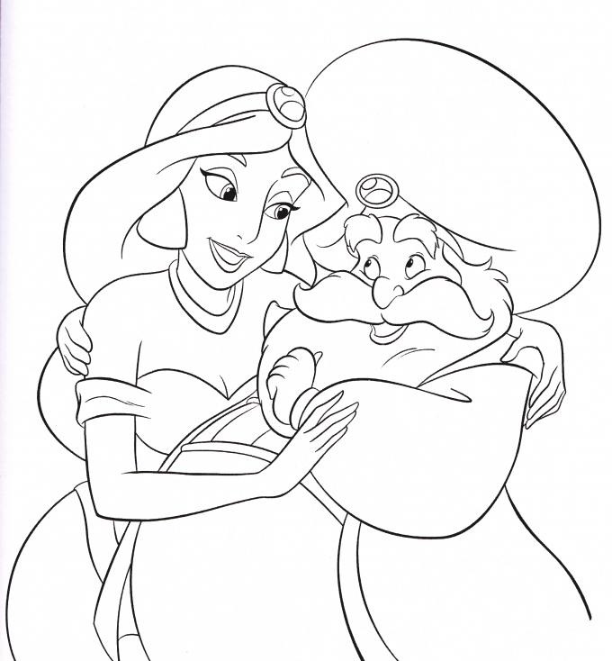 Coloriage Jasmine et Sultan