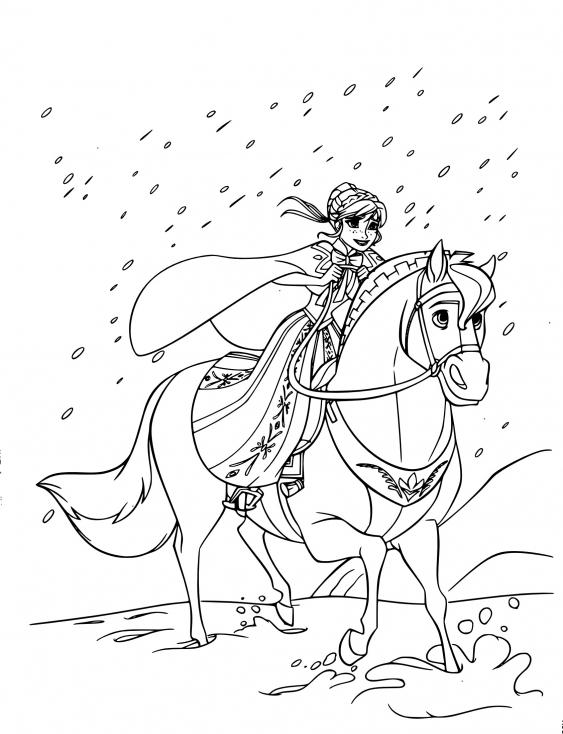 Coloriage Anna sur son cheval