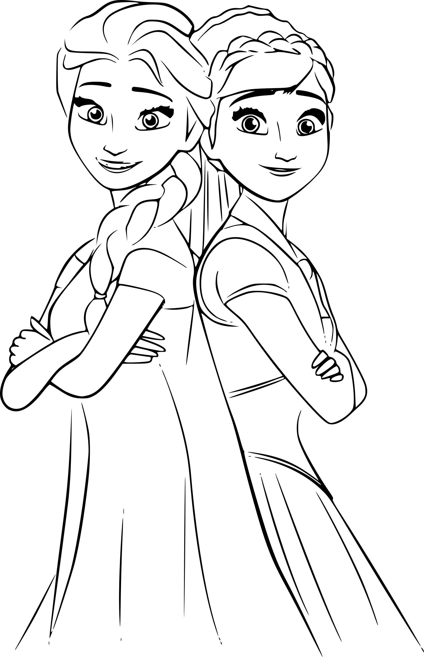 Coloriage Anna et Elsa à imprimer