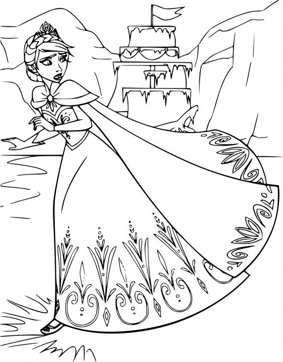 Coloriage Elsa et la glace