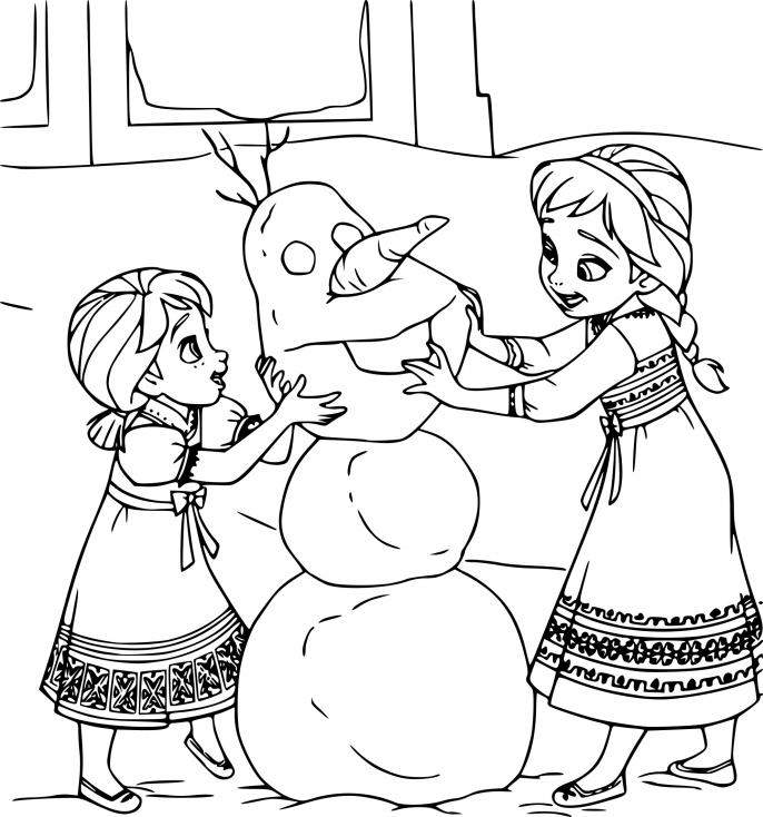 Coloriage petites Elsa et Anna
