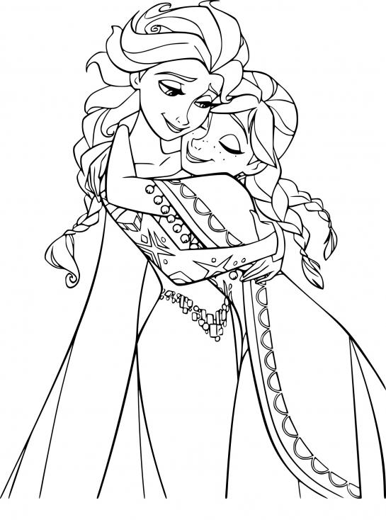 Coloriage princesses Elsa et Anna