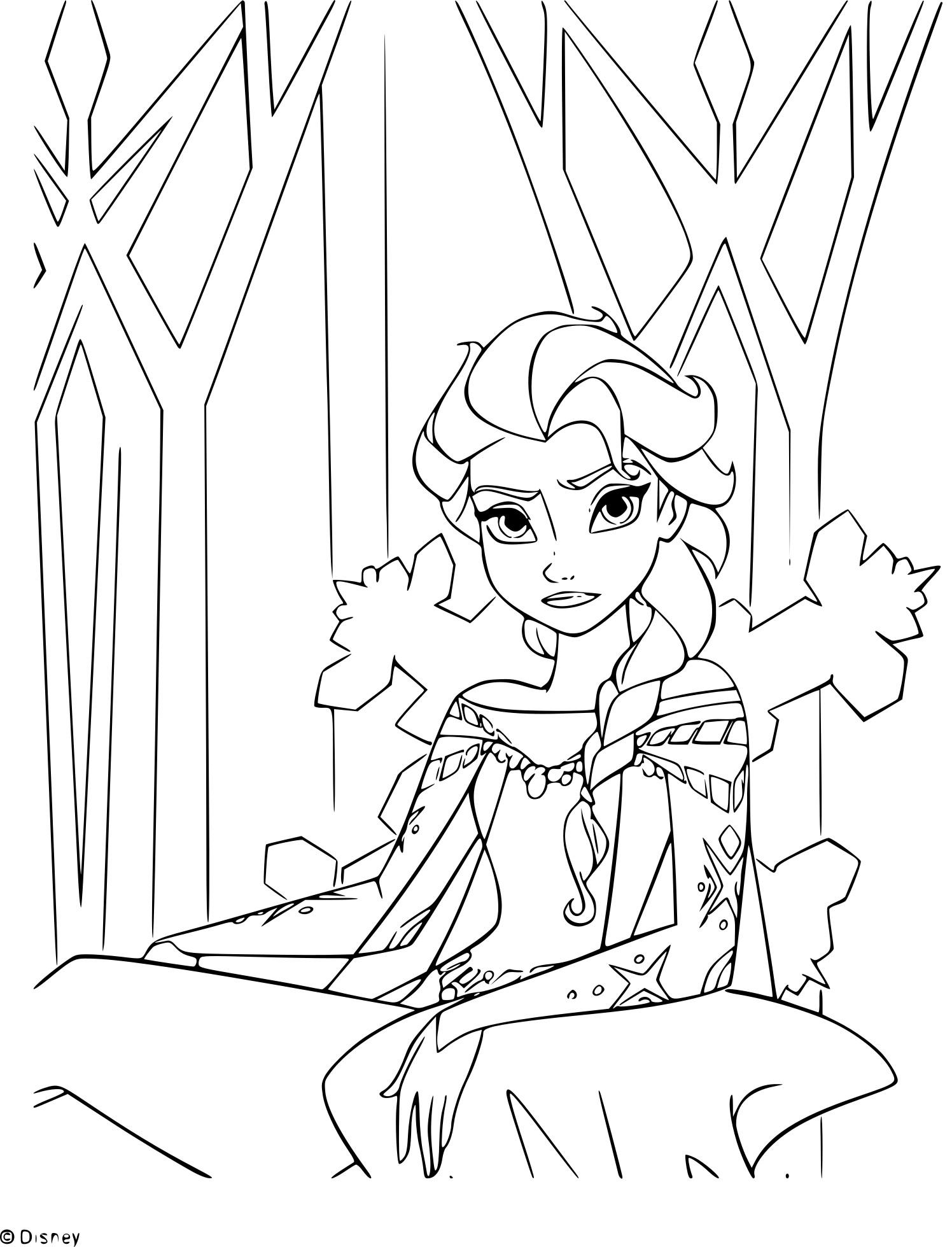 Coloriage Trone Princesse Elsa A Imprimer
