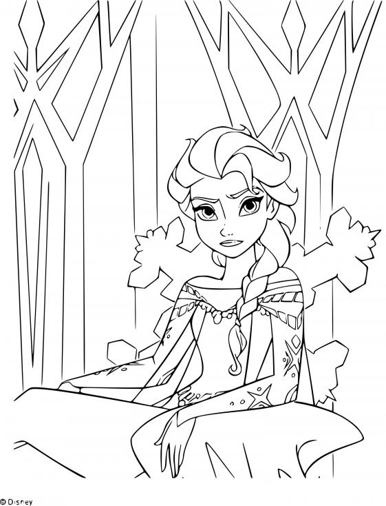 Coloriage trône princesse Elsa