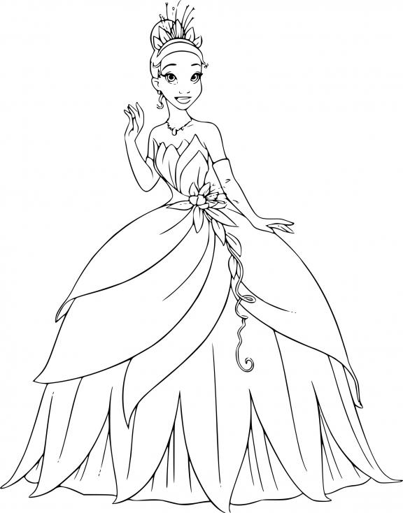 Coloriage princesse Tiana à imprimer