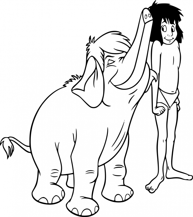 Coloriage Mowgli et Junior