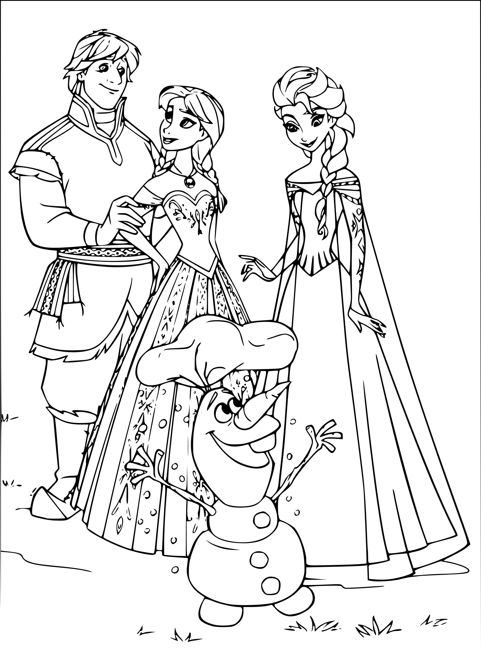 Coloriage Olaf Anna Et Elsa A Imprimer