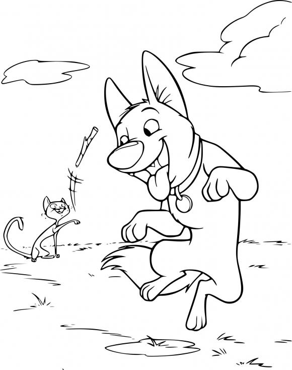 Coloriage Volt joue avec un bâton