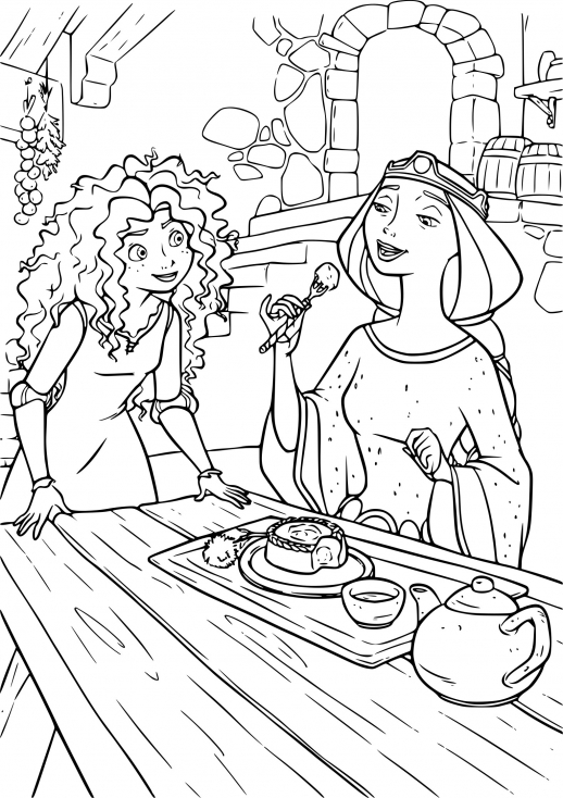 Coloriage Merida et Reine Elinor